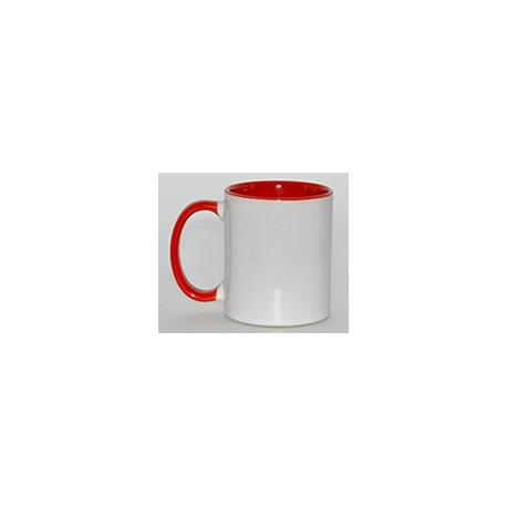 Kubek sublimacyjny czerwony (uszko, wnętrze i oblamówka) klasy A+ 330 ml