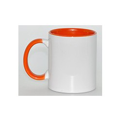 Kubek sublimacyjny pomarańczowy klasy AAA+++ (uszko, wnętrze i oblamówka) POD ZMYWARKI 360 ml