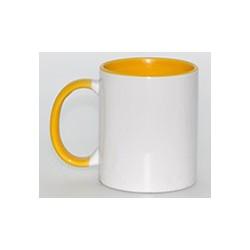 Kubek sublimacyjny żółty klasy AAA+++ (uszko, wnętrze i oblamówka) POD ZMYWARKI 360 ml