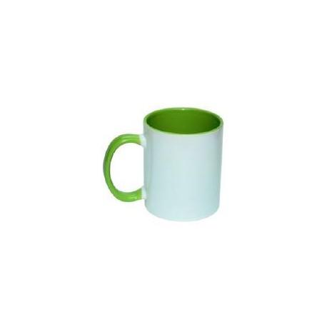 Kubek sublimacyjny zielony klasy AAA+++ (uszko, wnętrze i oblamówka) POD ZMYWARKI 360 ml
